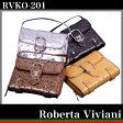 レディースオーストリッチ型押し二つ折り財布/ストラップ付きでショルダーにも変身♪有名ブランドRoberta Viviani