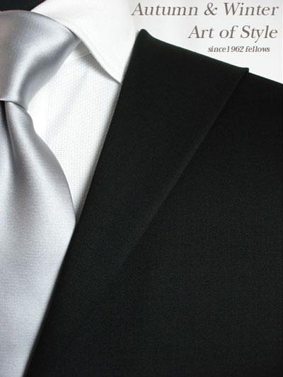 【ブラックスーツ】ブラック無地のオーダーフォーマルスーツ(秋冬用 ウール100% ポリ0% 英国製)【RCP】:オーダースーツのフェローズ