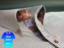 かりゆしウェア結婚式に アロハシャツ 沖縄 メンズ ボタンダウン 半袖 クールビズ Yシャツ ワイシャツ 【楽ギフ_包装】 【rcp】 おしゃれ 限定 紅型 茶 ブラウン 千鳥格子柄(msck-br02-0819)