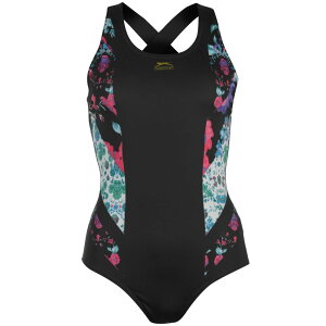 スラセンジャー Slazenger レディース ワンピース 水着・ビーチウェア【Rebecca Adlington Curved X Back Swimsuit】Black/Multi