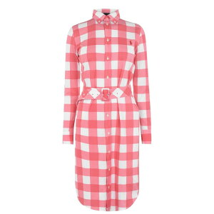 Polo Ralph Lauren女士一件一件连衣裙[Polo Check Shirt Drs] Almafi Red / White