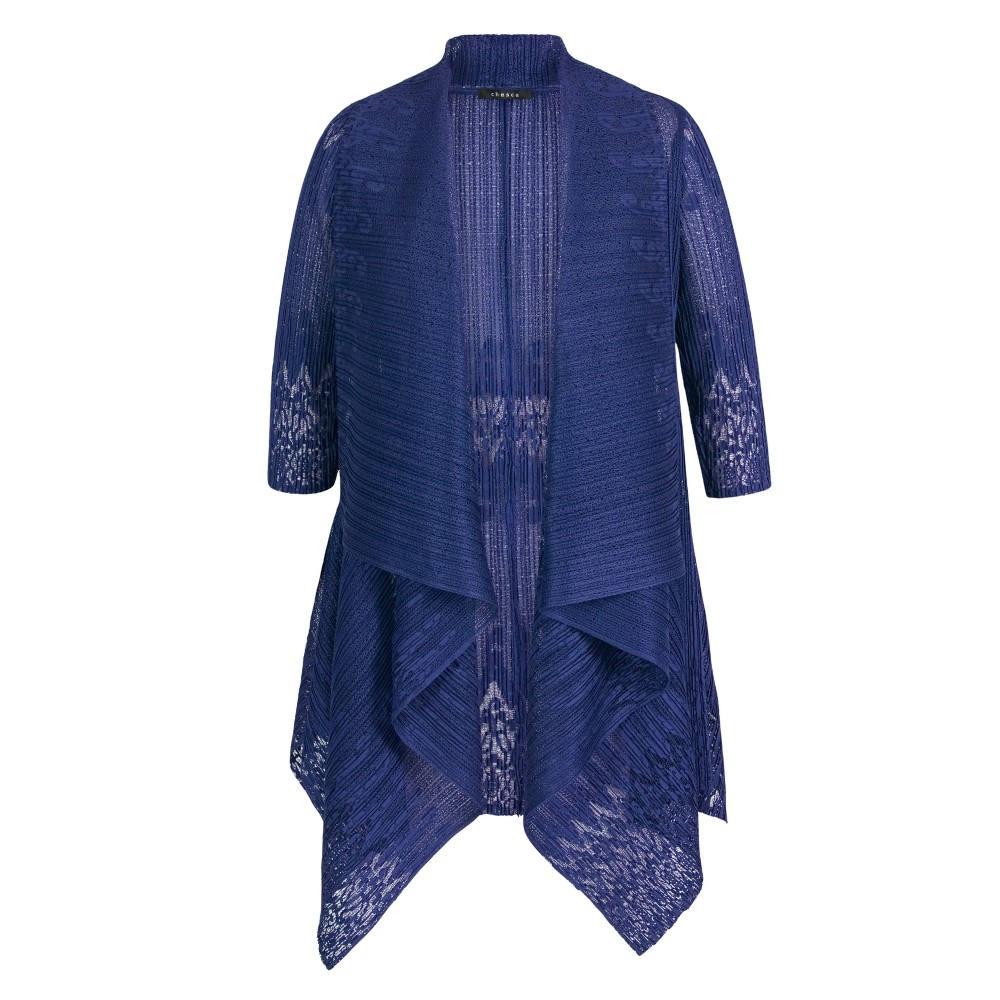 チェスカ レディース アウター【Border Lace Crush Pleat Shrug】royal blue:フェルマート