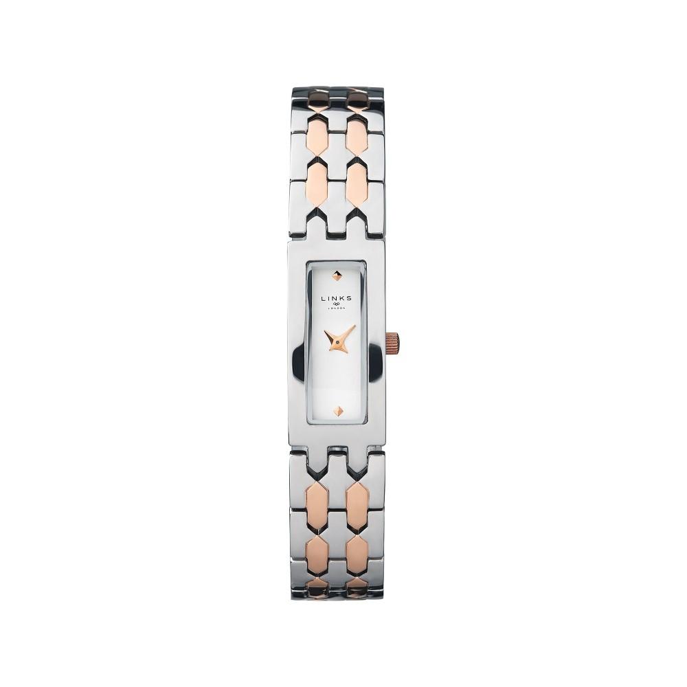 リンクス オブ ロンドン レディース 腕時計【Selene Stainless Steel & Rose Gold Tone Watch】silver