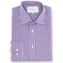 ダブルTWO メンズ トップス シャツ【Paradigm King Size Single Cuff 100% Cotton Shirt】purple