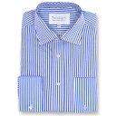 ダブルTWO メンズ トップス シャツ【Paradigm King Size Double Cuff 100% Cotton Shirt】blue