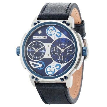 ポリス メンズ 腕時計【Blue Leather Strap Watch】blue
