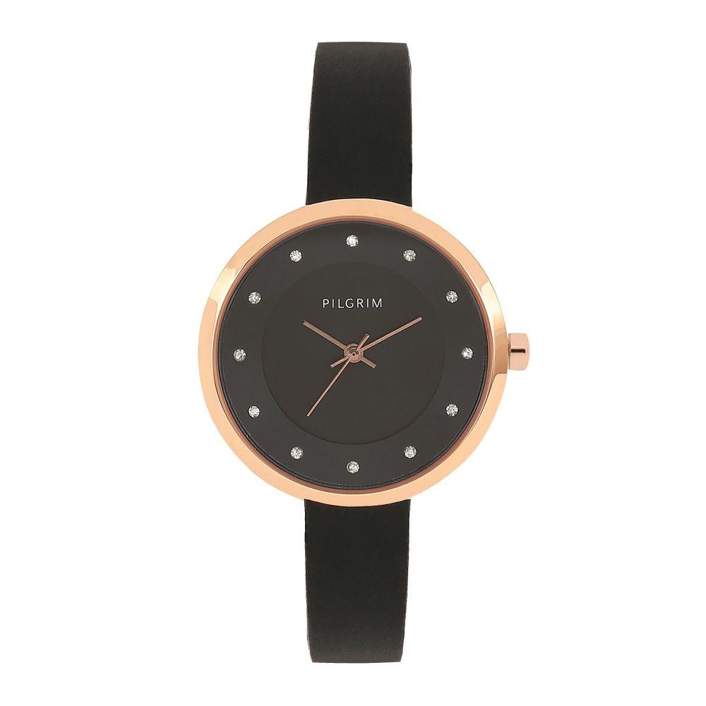 ピルグリム Pilgrim レディース 腕時計【Amy Rose Gold Plated Black Watch】black
