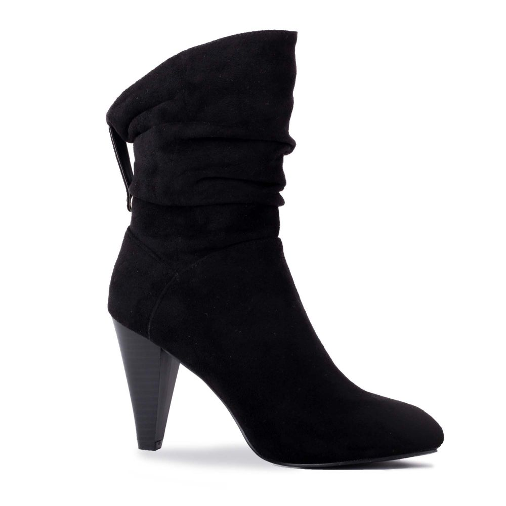 パラドックスロンドンピンク Paradox London Pink レディース シューズ・靴 ブーツ【Arizona Ruched Mid Heel Ankle Boots】black