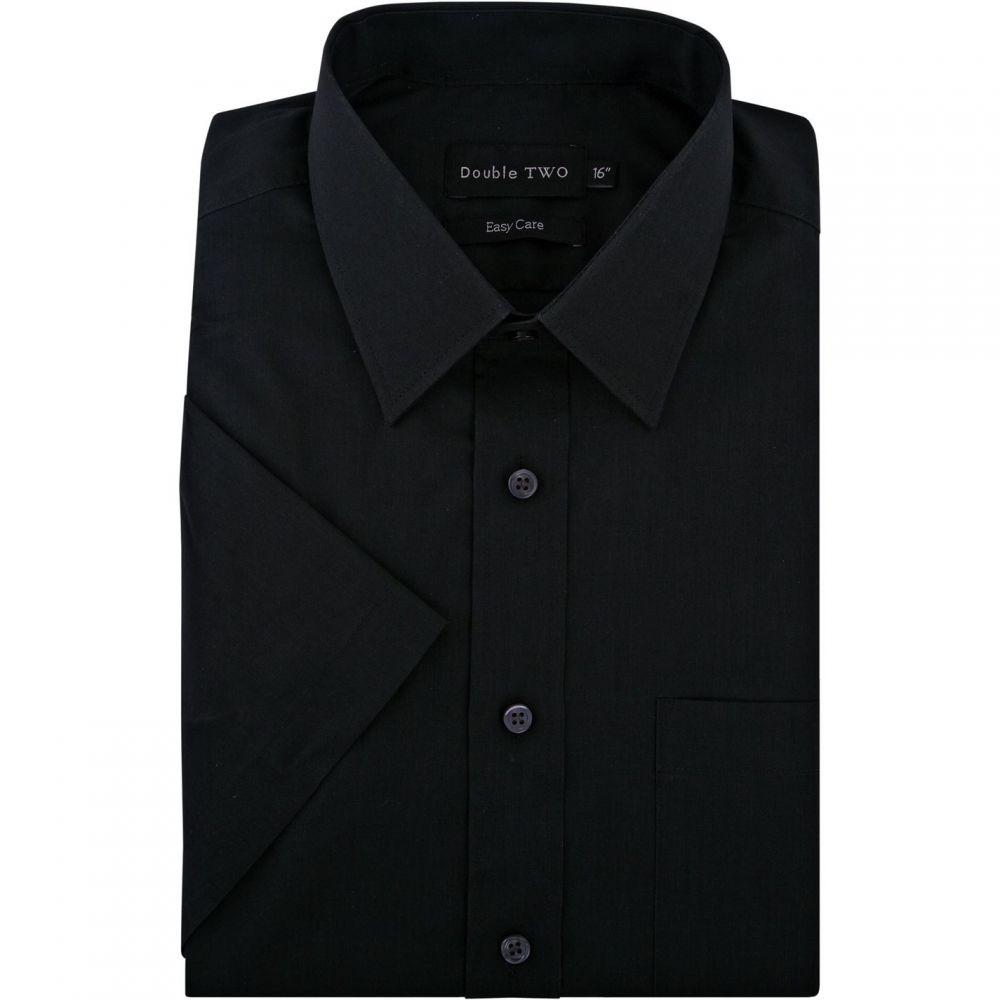 ダブルTWO Double TWO メンズ トップス 半袖シャツ【Classic Easy Care Short Sleeved Shirt】Black