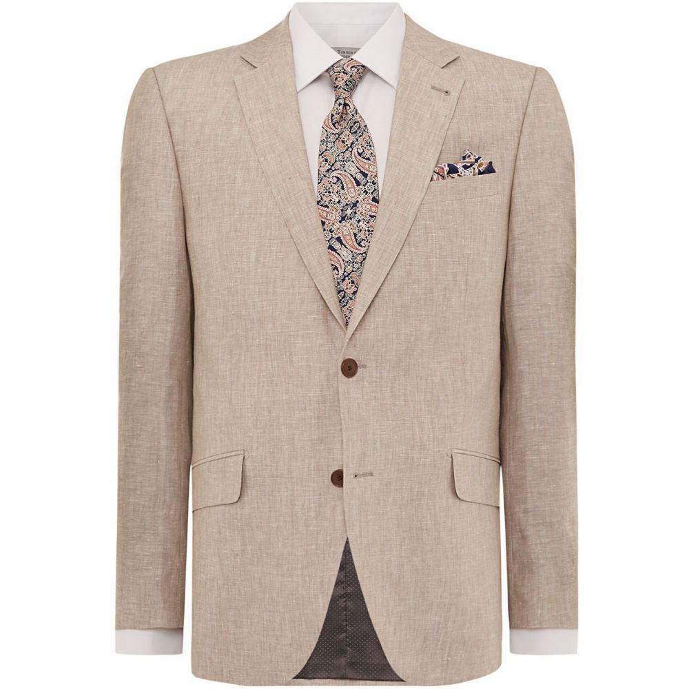ターナー アンド サンダーソン Turner and Sanderson メンズ アウター スーツ・ジャケット【Linton Tailored Fit Linen Suit Jacket】Beige