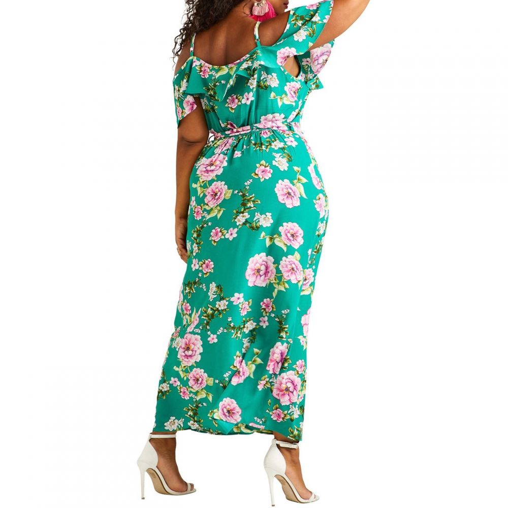 ユミ Yumi Curves レディース ワンピース・ドレス ワンピース【Cold Shoulder Maxi Dress】Green