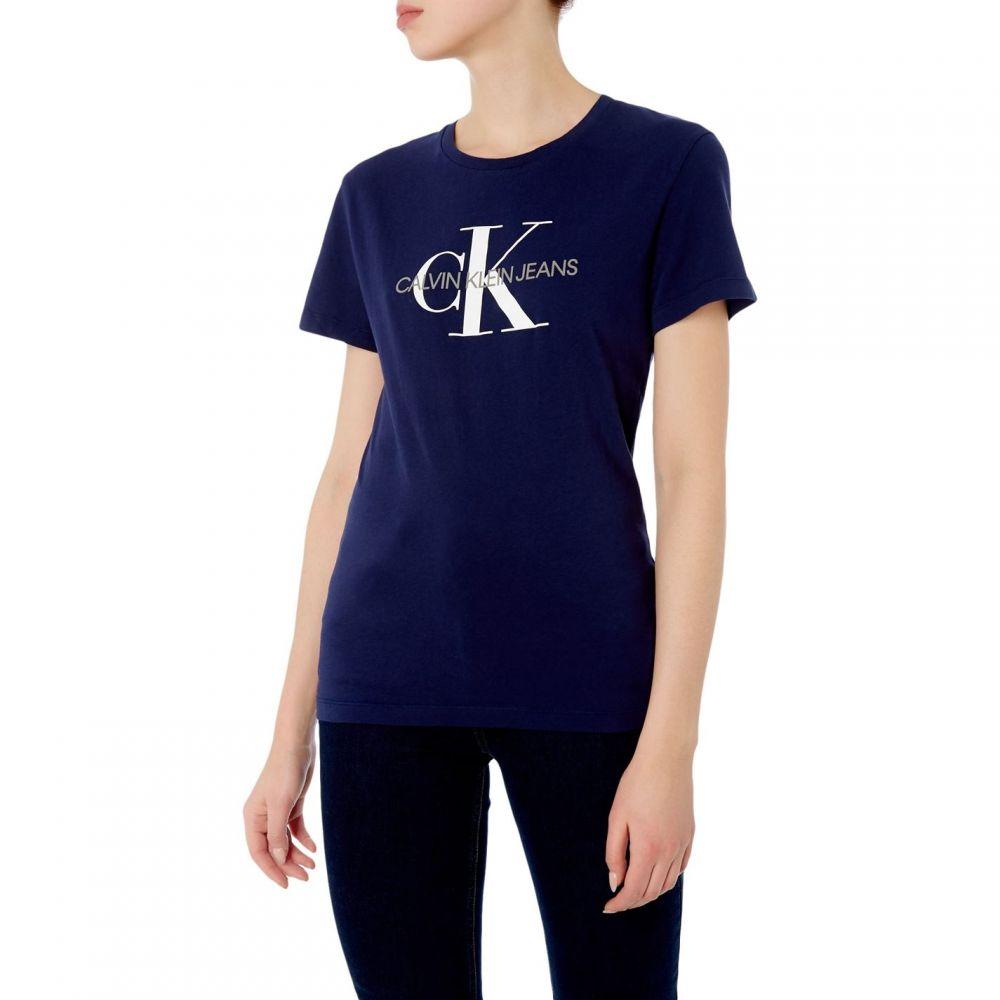 カルバンクライン Calvin Klein レディース トップス Tシャツ【Monogram Logo Slim Fit Tee】Navy