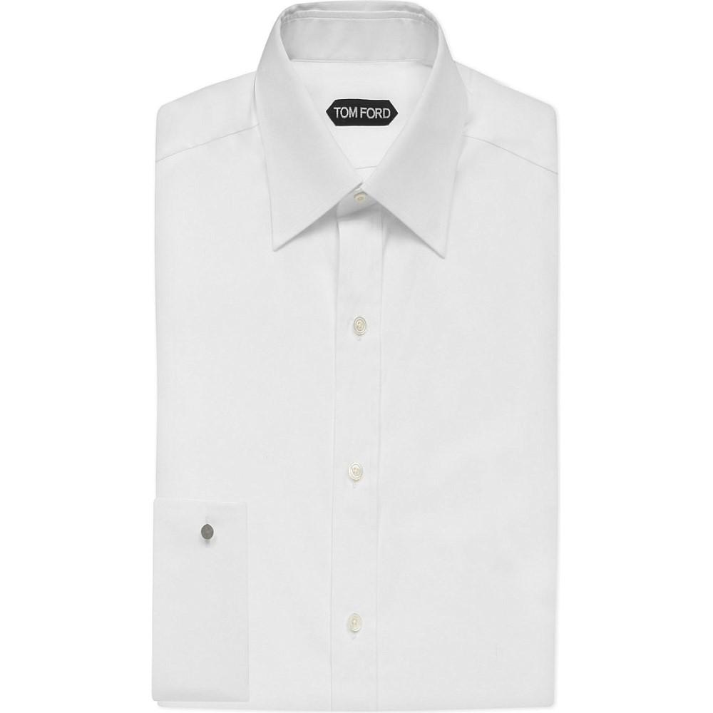 トム フォード tom ford メンズ トップス フォーマルシャツ【classic-fit double-cuff cotton shirt】White:フェルマート