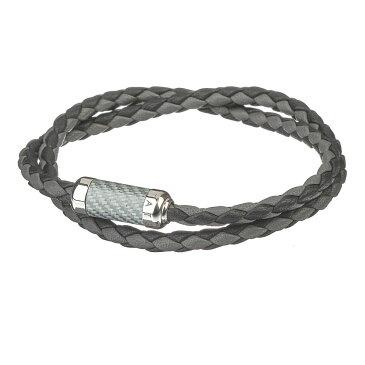 タテオシアン tateossian メンズ アクセサリー ブレスレット【montecarlo leather bracelet with silver and enamel clasp】Grey