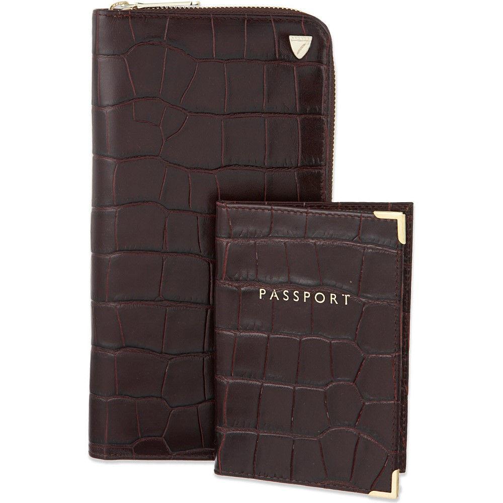 アスピナル オブ ロンドン aspinal of london メンズ アクセサリー パスポートケース【zipped travel wallet and passport cover】Amazon brown:フェルマート