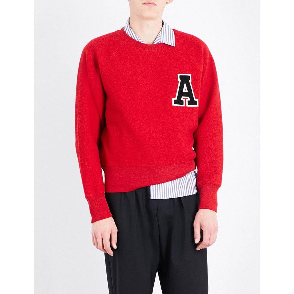 アミアレクサンドルマテュッシ ami alexandre mattiussi メンズ トップス トレーナー【applique letter wool sweatshirt】Red:フェルマート