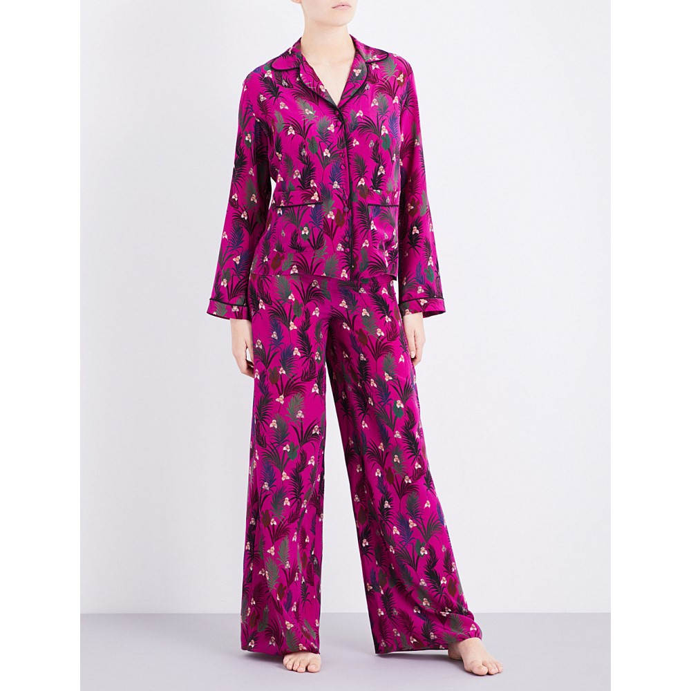 ロッキンス rockins レディース インナー パジャマ【monkey-print silk-crepe pyjama set】Pink monkey print:フェルマート