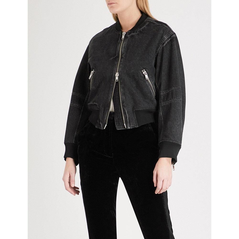 スリーワン フィリップ リム レディース アウター ブルゾン【zip-up denim bomber jacket】Black