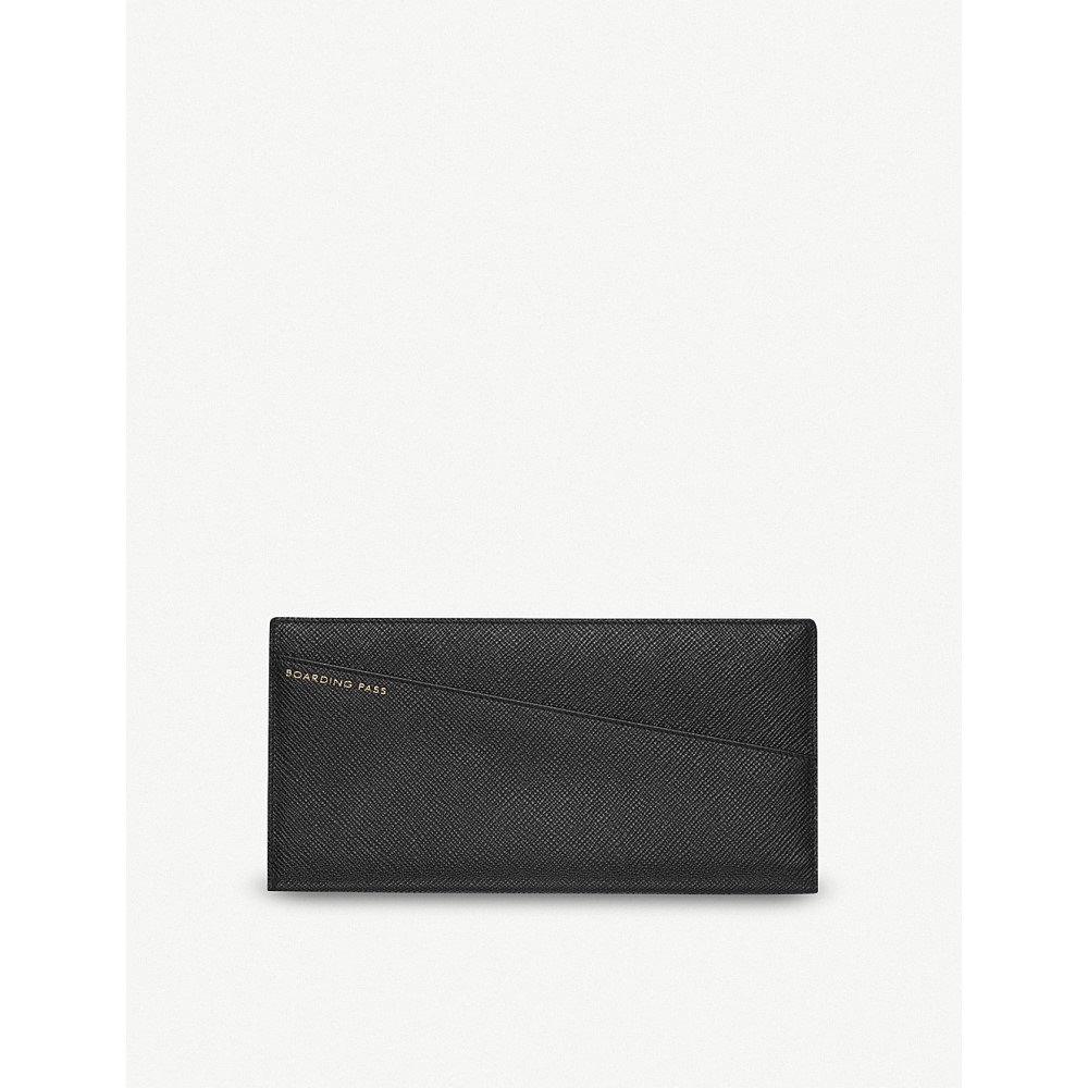 スマイソン メンズ 財布【panama slim grained-leather travel wallet】Black