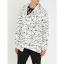 コム デ ギャルソン comme des garcons homme plus メンズ アウター ジャケット【geometric-print asymmetric woven hooded jacket】White black