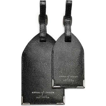 アスピナル オブ ロンドン aspinal of london メンズ キーホルダー【set of two lizard-embossed leather luggage tags】Black