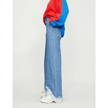 クセニア シュナイダー ksenia schnaider レディース ボトムス・パンツ ジーンズ・デニム【frayed cutouts wide-leg high-rise jeans】Medium blue