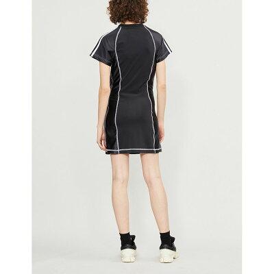 d44b0607bb8 ... logo-embroidered stretch-cotton and satin dress | Black | / powerred |  / white | S M L アディダス レディース ワンピース?ドレス