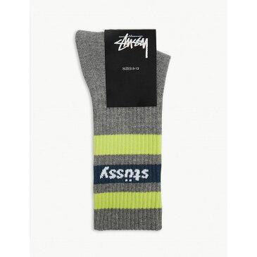 ステューシー stussy レディース インナー・下着 ソックス【striped logo cotton socks】Grey heather