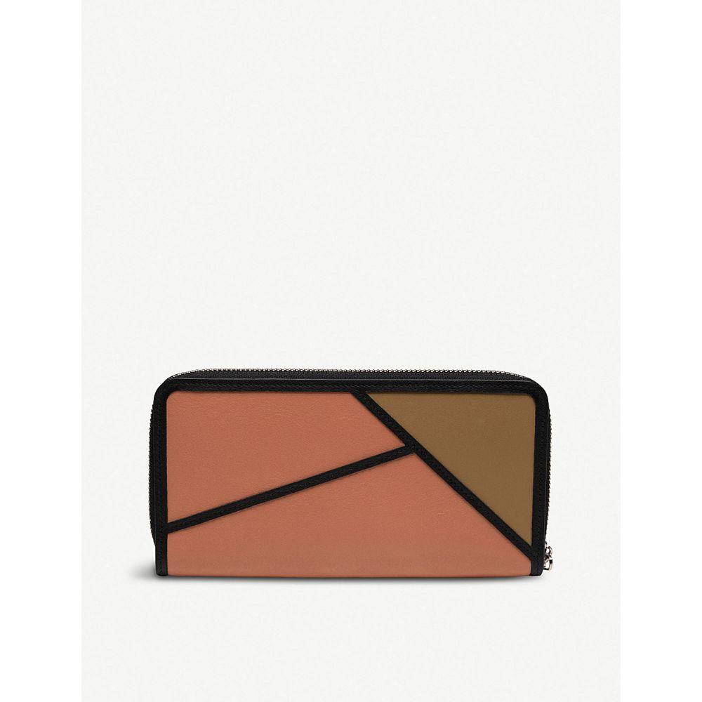 ロエベ loewe レディース 財布【puzzle zip-around leather wallet】Pink tulip/mocca
