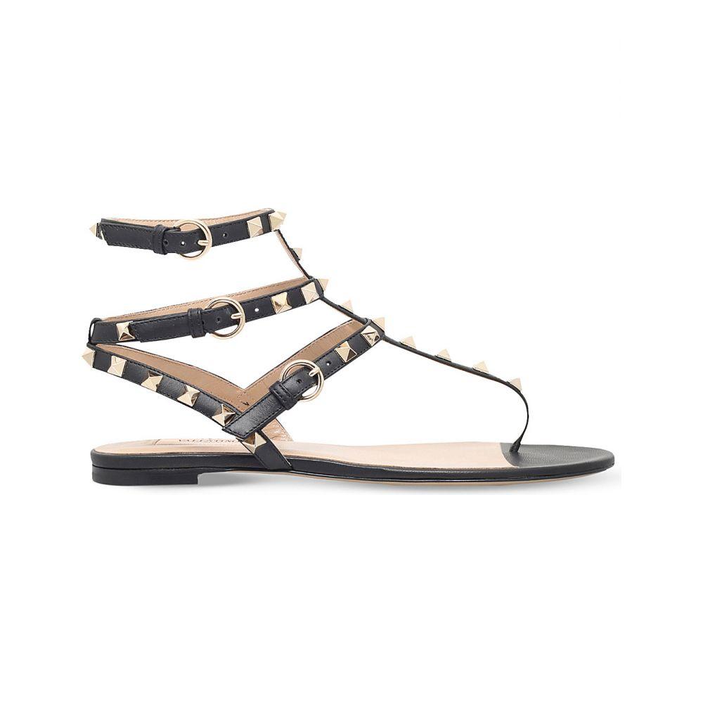 ヴァレンティノ valentino レディース シューズ・靴 サンダル・ミュール【rockstud leather gladiator sandals】Black