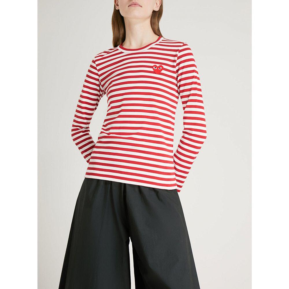 コム デ ギャルソン comme des garcons play レディース トップス【heart patch striped cotton-jersey top】Red/white