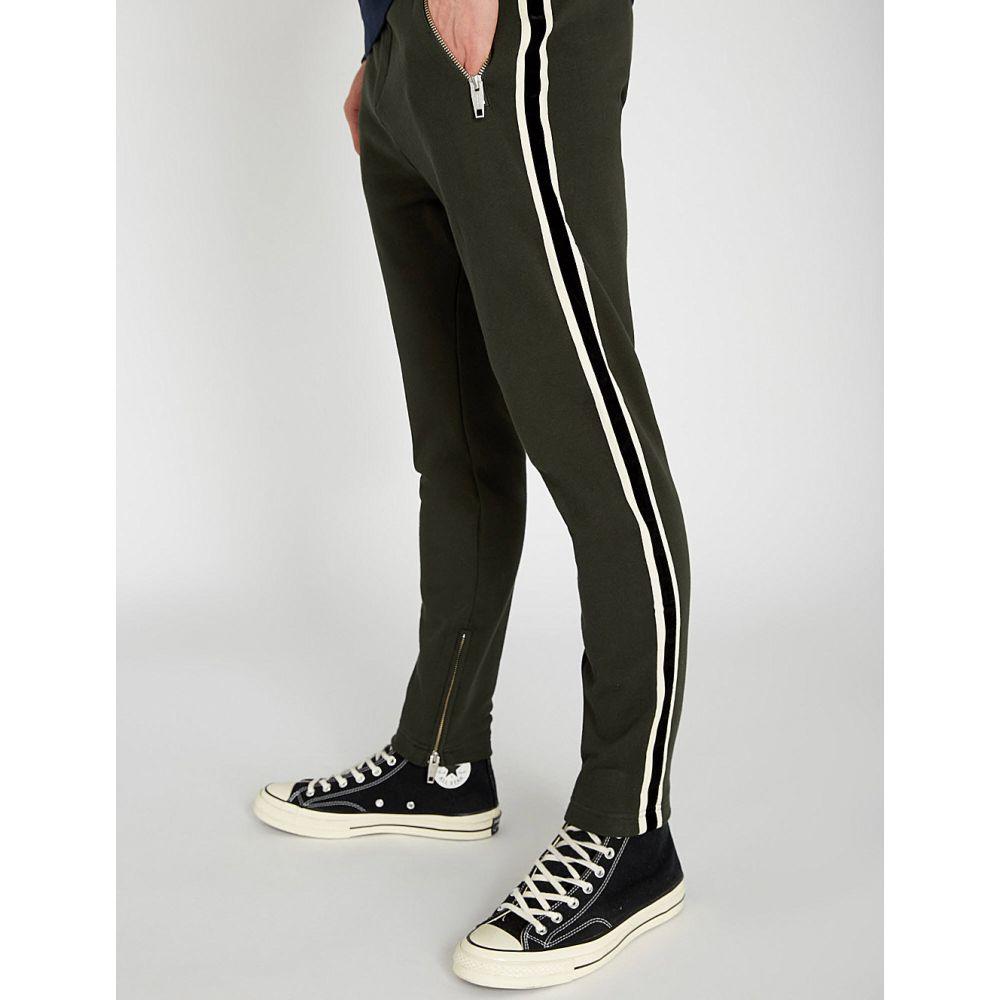 クーパース the kooples メンズ ボトムス・パンツ スキニー・スリム【striped-side slim-fit cotton-jersey jogging bottoms】Grn