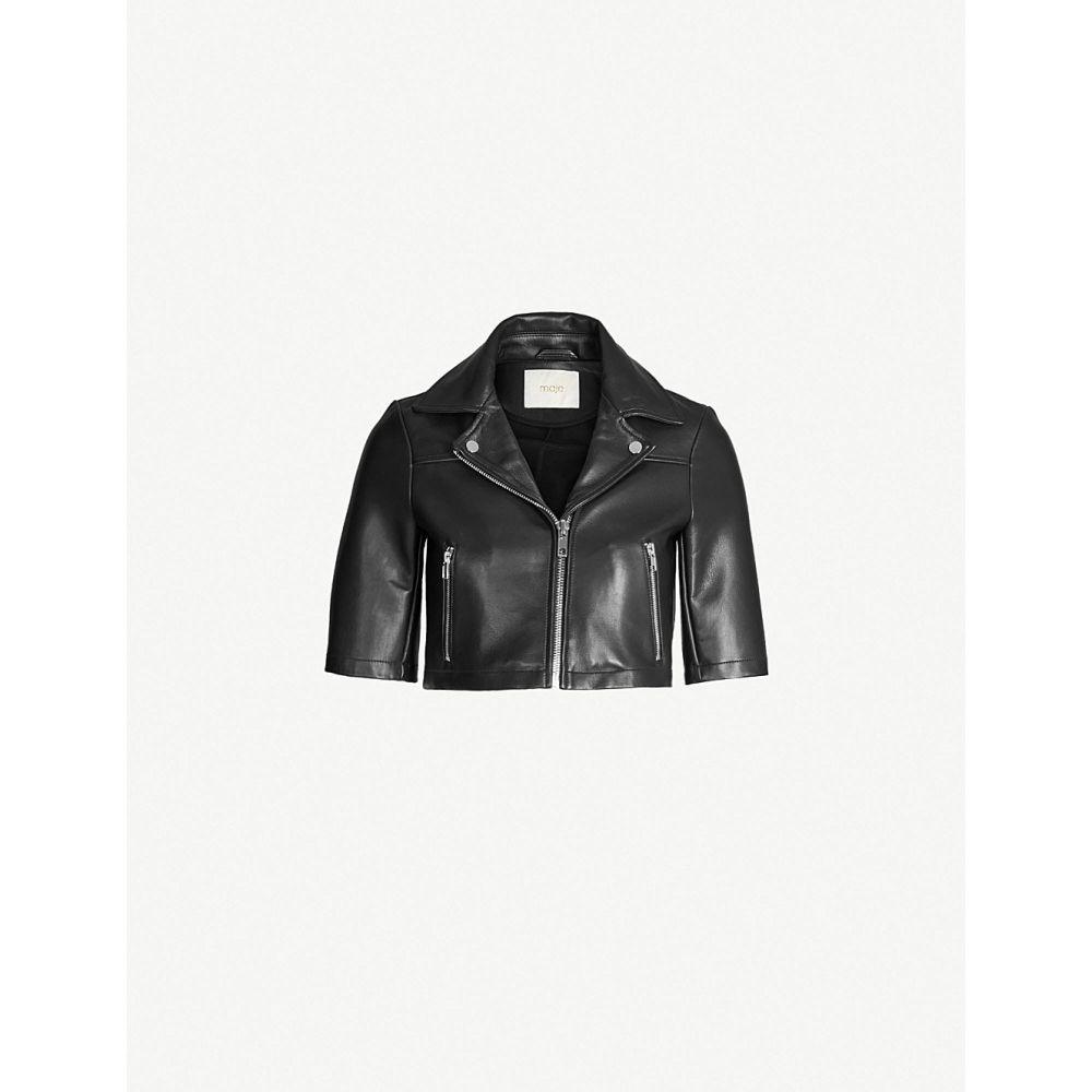 マージュ maje レディース アウター レザージャケット【bartou cropped leather biker jacket】Black