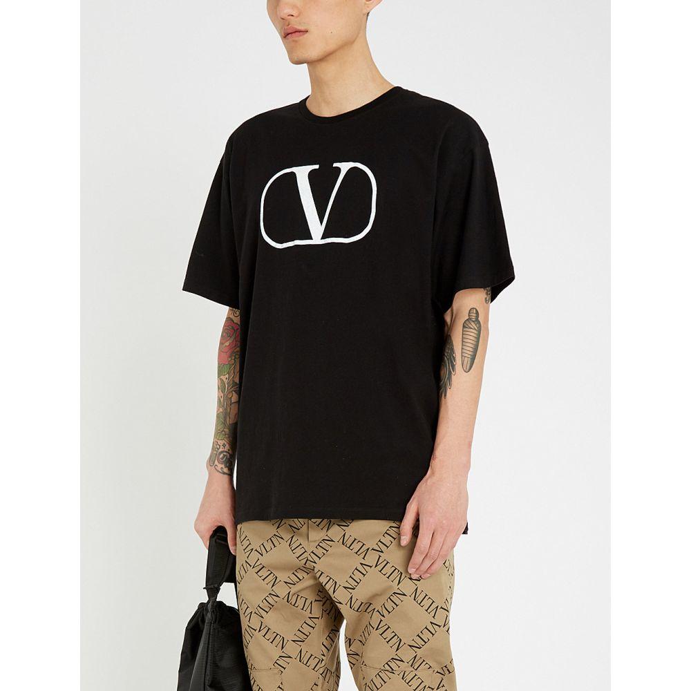 ヴァレンティノ valentino メンズ トップス Tシャツ【logo-print cotton-jersey t-shirt】Nero/bianco
