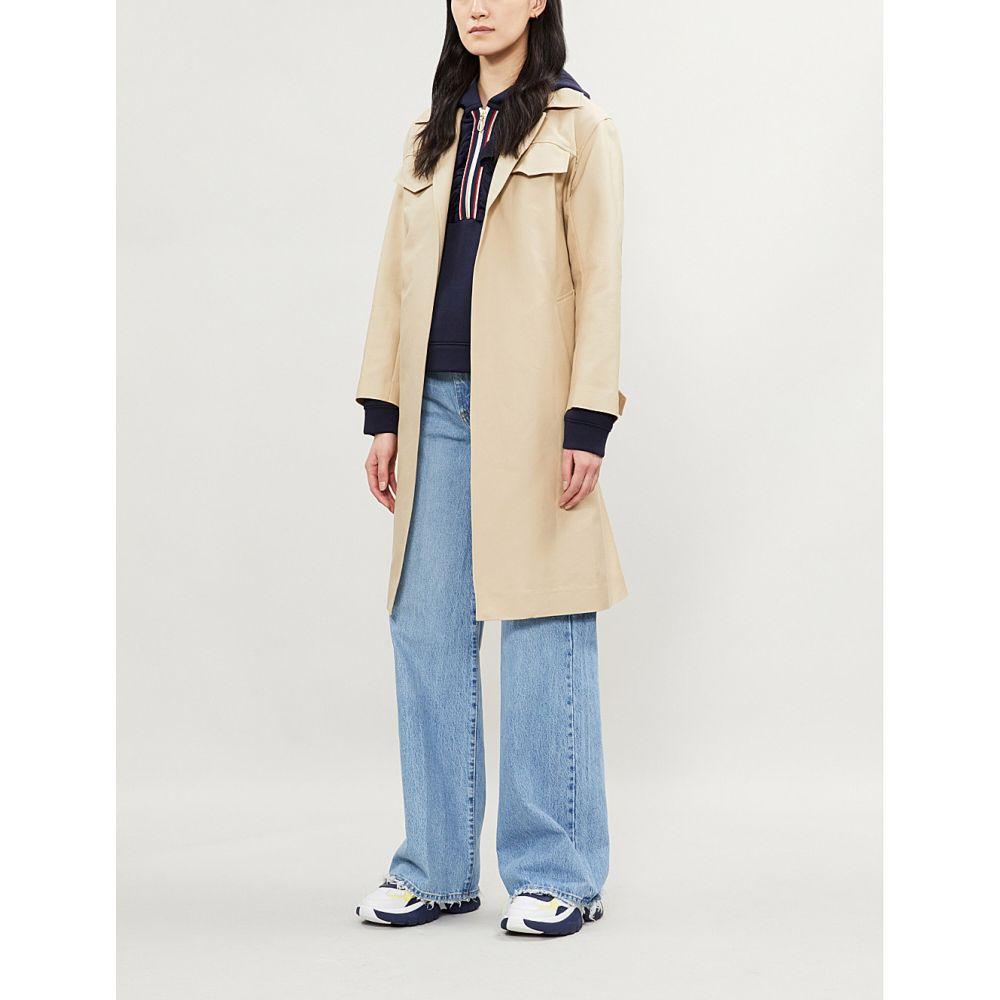 サンドロ sandro レディース トップス パーカー【thanina striped-trim stretch-jersey hoody】Navy blue