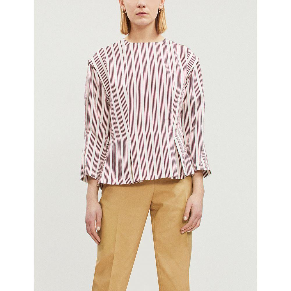 サンドロ sandro レディース トップス【striped flared-hem satin top】Burgundy