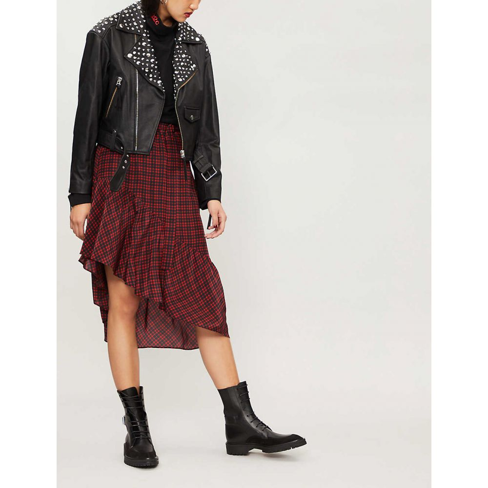 クーパース THE KOOPLES レディース スカート ひざ丈スカート【Check-pattern silk-crepe skirt】Black