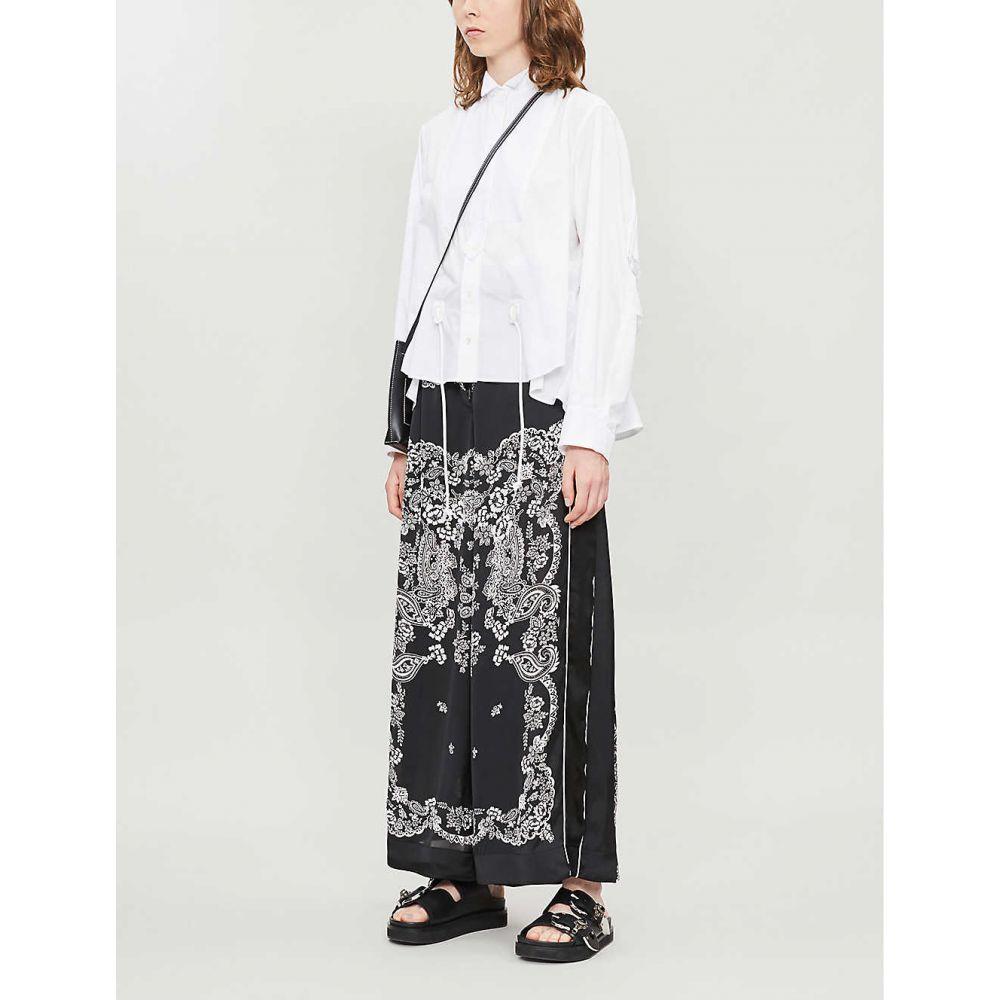 サカイ SACAI レディース ボトムス・パンツ【Paisley-print high-rise wide crepe trousers】Black