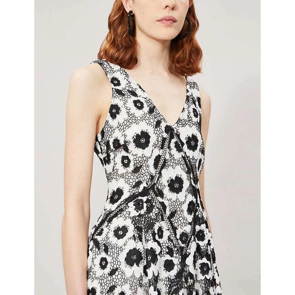 セルフ ポートレイト SELF-PORTRAIT レディース ワンピース・ドレス ワンピース【Abstract floral-print sleeveless crepe dress】Ivory/black