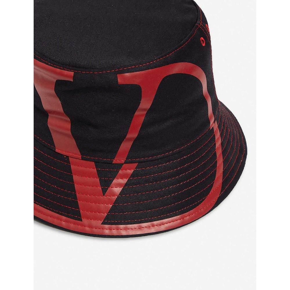 ヴァレンティノ VALENTINO メンズ 帽子 ハット【V logo logo-print cotton bucket hat】Blue red