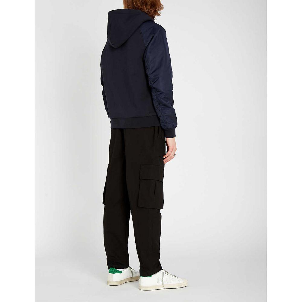 クーパース THE KOOPLES メンズ トップス パーカー【Panelled cotton-jersey and shell hoody】Navy