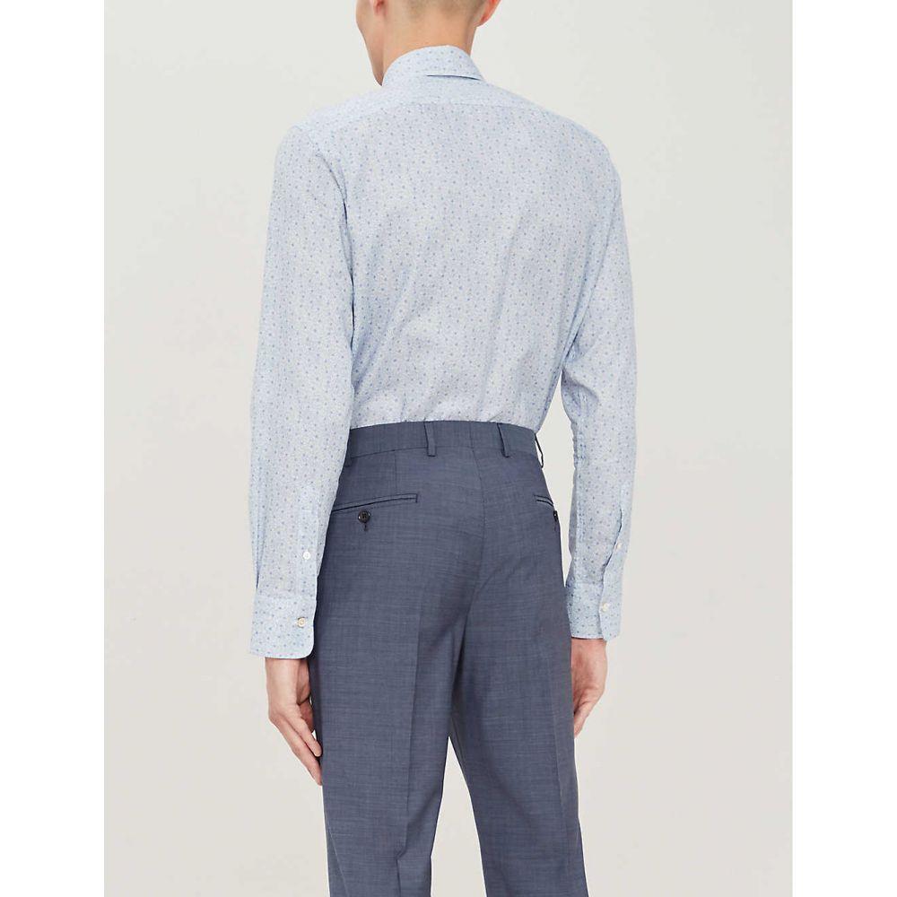 カナーリ CANALI メンズ トップス シャツ【Coin-print modern-fit cotton shirt】Sky