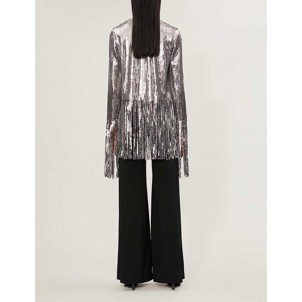 ガルバン GALVAN レディース アウター ジャケット【Stardust V-neck fringed-trim sequin jacket】Steel