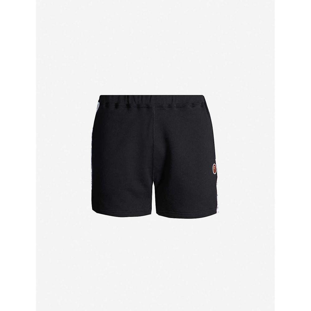 ボトムス, パンツ  BAPE Branded-tape fitted cotton-jersey shortsBlack