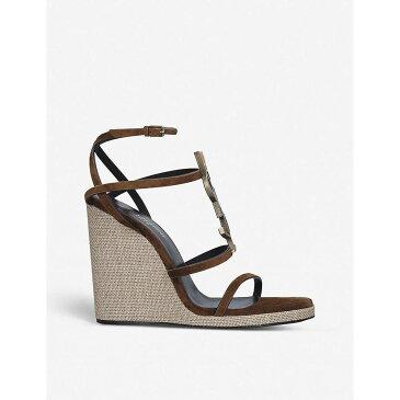 イヴ サンローラン SAINT LAURENT レディース サンダル・ミュール シューズ・靴【Cassandra 115 leather wedge-heeled sandals】GREEN COMB