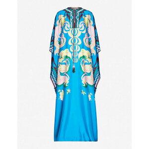 EMILIO PUCCI女士一件式长连衣裙一件式连衣裙[图形印花真丝连衣裙] Prugna Turchese