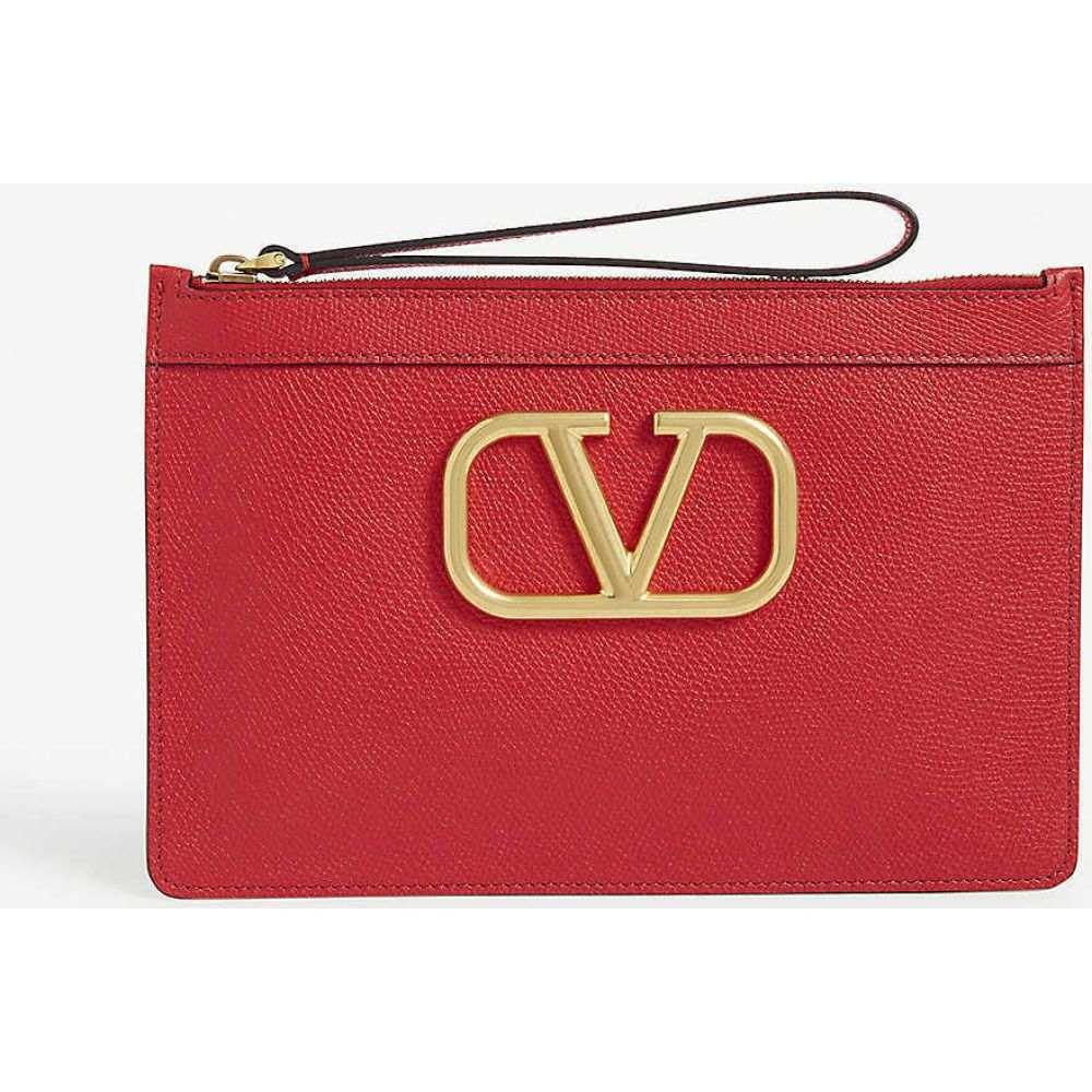 レディースバッグ, クラッチバッグ・セカンドバッグ  VALENTINO GARAVANI V Logo leather pouchRouge Pur