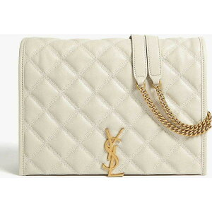Yves Saint Laurent SAINT LAURENT حقيبة كتف نسائية [Becky جلد مبطن حقيبة كتف صغيرة] WHITE