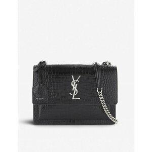 イヴ サンローラン SAINT LAURENT レディース ショルダーバッグ バッグ【sunset monogram medium crocodile-embossed leather shoulder bag】BLACK