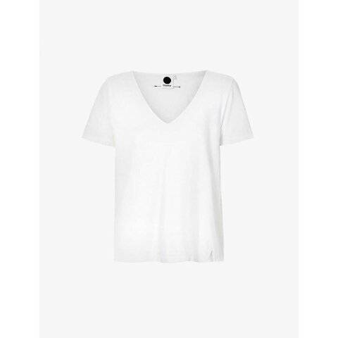 ベイシーク BASSIKE レディース Tシャツ Vネック トップス【V-neck organic cotton-jersey T-shirt】WHITE